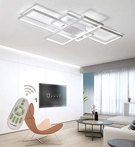 LED Modern Deckenleuchte Wohnzimmerlampe Dimmbar Fernbedienung, Eckig Deckenlampe 3-ringe Design Acryl-schirm Metall Deko Kronleuchter für Küchen Esszimmer Bad Flur Decke Lampe L80*W45cm (Weiß)