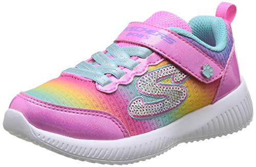 Skechers Bobs Squad-Spunky Steps, Zapatillas Niñas, Pink Textile/Multi Trim, 33.5 EU