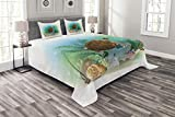 Ambesonne Ocean Bedspread, Sea Turtle Swims in The Ocean Tropical Underwater World Aquarium Illustration Print, Decorative Quilted 3 Piece Coverlet Set with 2 Pillow Shams, King Size, Green Brown