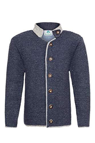 Isar-Trachten Jungen Kinder Strick-Jacke Jeansblau grau, Jeans, 152