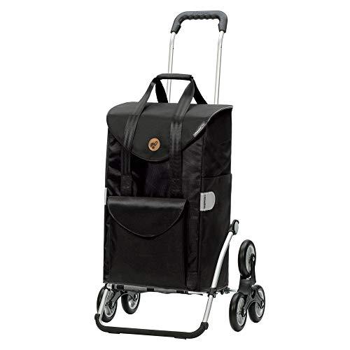 Andersen Einkaufstrolley Royal Treppensteiger und Einkaufstasche Senta schwarz 49 Liter
