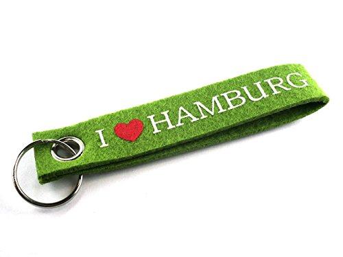 City Souvenir Shop Filz-Schlüsselanhänger I Love Hamburg, grün
