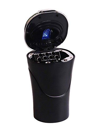 DEBAIJIA Cenicero De Coche Portátil con LED Luz Tapa Inoxidable Encendedor Negro/Plata