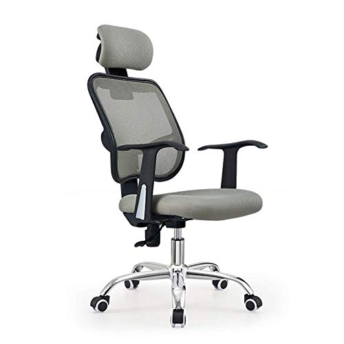 HMBB Sillas de escritorio, silla de oficina ergonómica de malla con respaldo alto, silla de escritorio con reposacabezas ajustable/soporte para el cuello, silla de trabajo de computadora (color: gris)