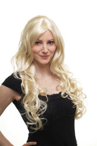 WIG ME UP - Perruque Blonde Platine, Avec Boucles, Raie De Côté 70Cm