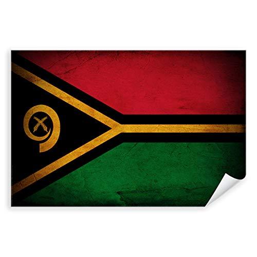 Postereck - 0390 - Vintage Flagge, Fahne Vanuatu Port Vila - Unterricht Klassenzimmer Schule Wandposter Fotoposter Bilder Wandbild Wandbilder - Poster mit Rahmen - 29,0 cm x 19,0 cm