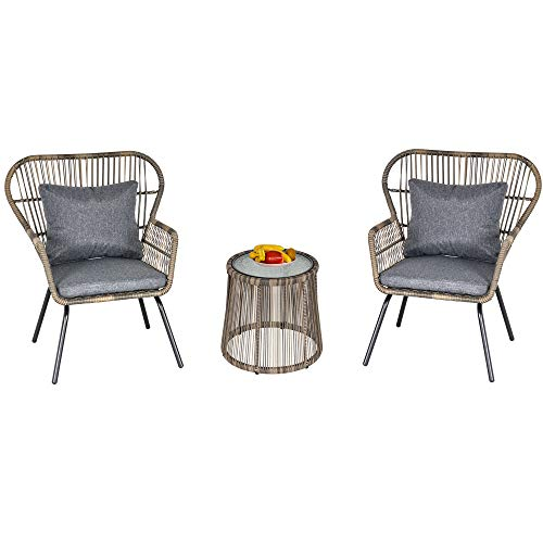 Outsunny 3 PCS Webbed PE Rattan Outdoor Dining Patio Set w/Cushions Steel Frame Foot Pads 2 Chairs Coffee Table Bistro Garden Seat Grey
