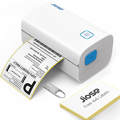 Jiose Impresora Térmica de Etiquetas, Alta Velocidad 152 mm/s USB Equipos de Etiquetado, Aplicar en la Oficina, almacén, envío, Tienda