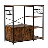 Bookcase with Doors and Shelves, 3-Layer Particleboard Industrial Wind with Cabinets Wrought Iron Kitchen Shelf (4-Layer Particleboard Industrial Wind)