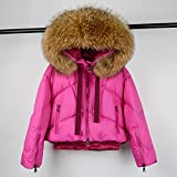 YHWW Chaqueta de Plumas,Winter Coat Women Large Hooded 90% White Duck Down Thick Parkas Female Snow Jackets,Pink 3,S