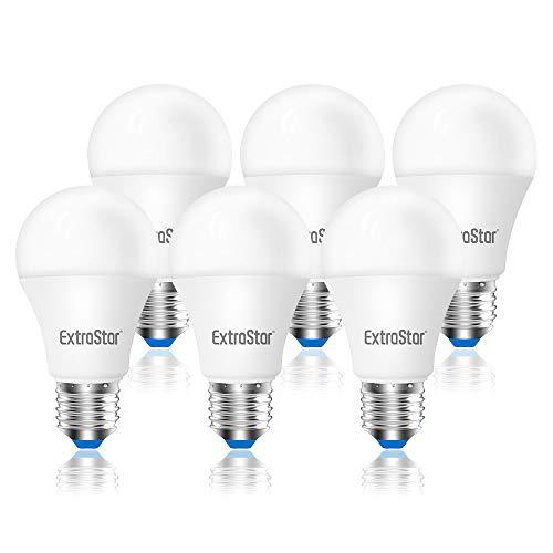 ExtraStar 6 x E27 ES A60 10W 800lm LED Globo bombilla Blanco cálido (3000K) No regulable [Clase de eficiencia energética A+]
