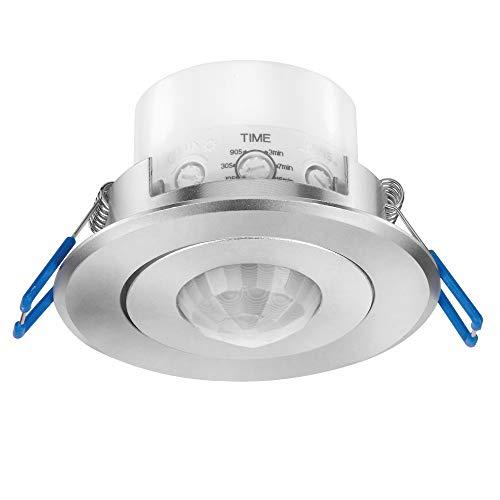 conecto Infrarot Bewegungsmelder Decke innen Einbau Unterputz 68mm Deckenmontage LED 360° Lichtsteuerung IP20 (1 Stück), silber aluminium