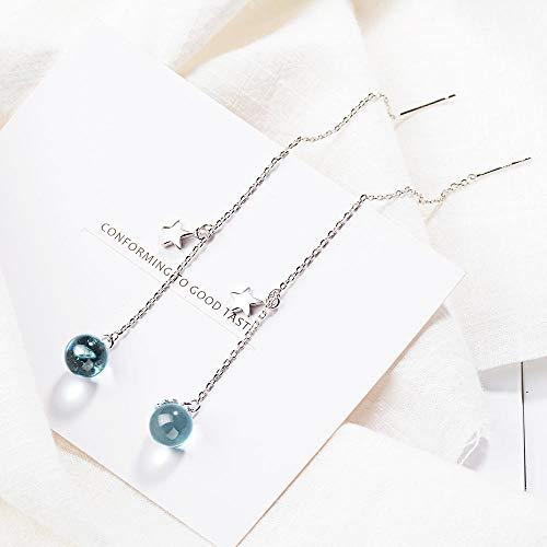 Pendientes Mujer Pendientes Largos Azules De Plata De Ley 925 Pendientes De Borla Esféricos De Cristal para Mujer