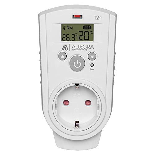 ALLEGRA Thermostat Steckdose Steckdosenthermostat für Infrarotheizung Heizung Heizlüfter und Klima und Timer Steckerthermostat Heizkörperthermostat (T26)