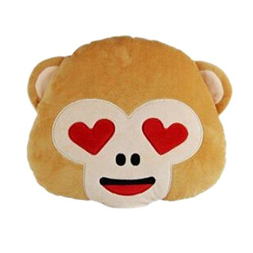 Nunubee Kreativ Emoji Affe-Form zierkissen mit Füllung Mehrfachausdruck Optional Kinderspielzeug Spielzeug deko Kissen Wohnzimmer Sofa Office Dekorative, Lächeln 2 35 * 33 * 10cm