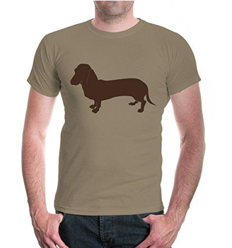 buXsbaum® Herren Unisex Kurzarm T-Shirt Bedruckt Dackel Tiersilhouette | Hund Jagdhund | L Khaki-Brown Beige
