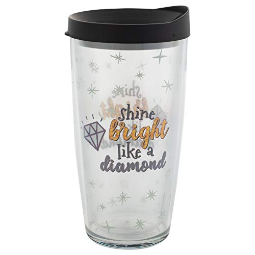Signature Tumblers Shine Bright Like a Diamond Wrap on Clear 16 Ounce Double-Walled Travel Tumbler Mug with Black Easy Sip Lid
