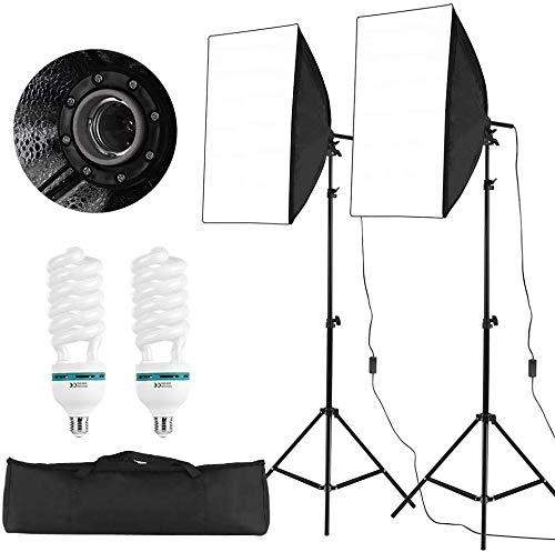 Docooler softbox verlichtingsset professionele studio fotografie kubus paraplu inclusief 50 * 70 cm softboxen / 150 W 5500 K gloeilampen / 2 meter lichtstatisch/draagtas, 2 verpakkingen
