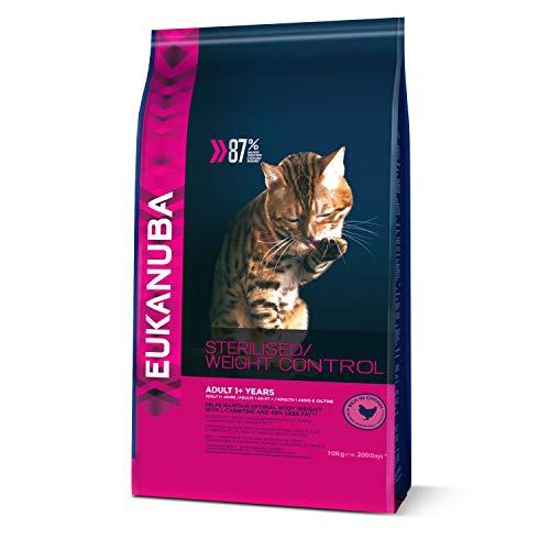 EUKANUBA - Croquettes pour Chat stérilisé ou en surpoids - Poulet - Croquettes recommandées par les vétérinaires - Alimentation 100% Complète et Equilibrée - Riche en Poulet - Sac refermable de 10kg