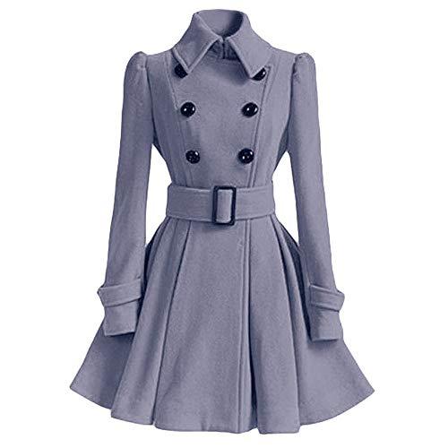 Hmlai Women Swing Double Breasted Wool Pea Coat with Belt Buckle Spring Mid-Long Long Sleeve Lapel Dress Outwear (M, Gray)