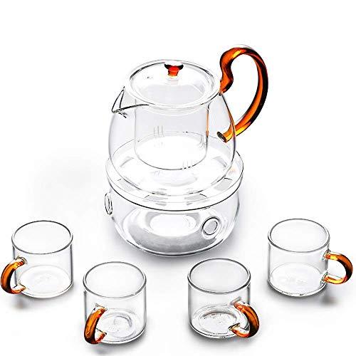 DOUP Tea Sets Heat Resistant Glass Clear Thicken Teaware 6 Piece Flowering Tea Set for Home and Office Use