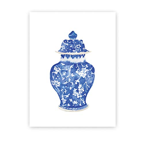 Leinwanddrucke Aquarell Vasen Drucke Ming Porzellan Blau Und Weiß Kunst Leinwand Malerei Östlichen Kunst Poster Wand Kunst Dekor