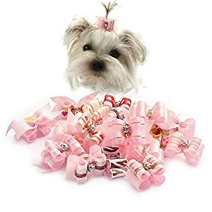 armiDogBow 10 Pcs Handmade Dog Bow Grooming Hair Bows for Puppy Small Dogs Accessories Products Pink
