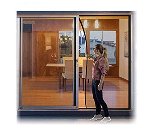 Large Hands Free Mesh Screen Net Door Anti Mosquito Bug Magic Curtain with Heavy Duty Magnets Full Frame Velcro Mesh Curtain fit up to 72' x 80' Inchs Door Sliding Door