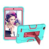 Koolbei Case for Walmart Onn 8 Inch Tablet, Heavy-Duty Drop-Proof and Shock-Resistant Rugged Hybrid case(with Built-in Stand), for Walmart Onn Android Tablet 8 Inch (ONA19TB002) Case (Aqua/Rose red)