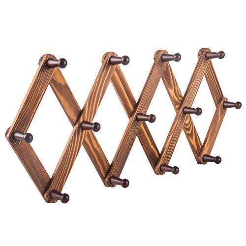 PMLYQ Wooden Expandable Accordion Style Coat Rack Wall Hanger 13 Peg Hooks Vintage for Hanging Hat,Coffee Mug,Cap,Purse Belt,Towels,Umbrella,Scarves,Necklaces