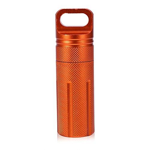 Medicijndoos, waterdichte waterdichte sleutelhanger, opslagfles, container, pil, houder, capsule, afdichting, container (oranje)