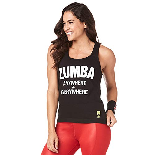 Zumba Fitness Black Loose Gym Tank Active Graphic Print Dance Women Workout Tops