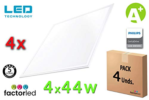FactorLED Pack x4 Panel LED 60x60 cm 44W, 4 unidades Lampara LED para Falso Techo, Driver Philips, Bajo Consumo, 7000 Lumenes, Marco Blanco Varias Temperaturas (Luz Natural (4000K))
