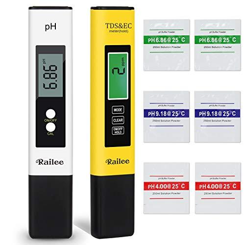 Railee Medidor de PH Medidor de Prueba de Calidad del Agua PH y TDS Medidor de PH TDS EC Temperatura 4 en 1 Digital con Pantalla LCD Calibración Automática PH/TDS Tester para Acuarios, Piscina