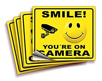 Smile You re On Camera Signs Stickers – 4 Pack 7x6 Inch – Premium Self-Adhesive Vinyl Laminated for Ultimate UV Weather Scratch Water and Fade Resistance Indoor and Outdoor