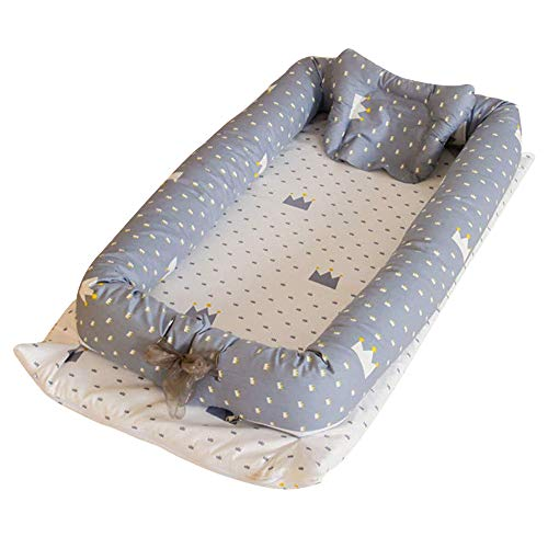 Purchase Abreeze Baby Bassinet for Bed - Crown Printed Baby Lounger - Breathable & Hypoallergenic Co...