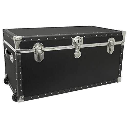 Seward Trunk Trailblazer Oversized Footlocker Trunk with Wheels, Black, 31-inch (SWD5231-11)
