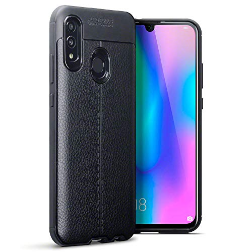 TERRAPIN Funda Huawei P Smart 2019 / Huawei Honor 10 Lite Protectiva de Silicona Gel TPU Estrecha de Diseño de Textura de Cuero - Negro