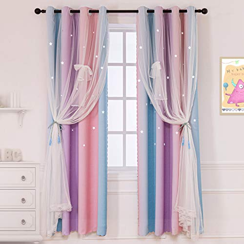 """STFLY 2 Panels Star Curtains for Girls Bedroom, Room Darkening Kids Blackout Curtains Double Layer Tulle Overlay Rainbow Lace Curtain Room Decor Drapes (2 Pcs   52"""" W x 63"""" L, Stripe Purple)"""