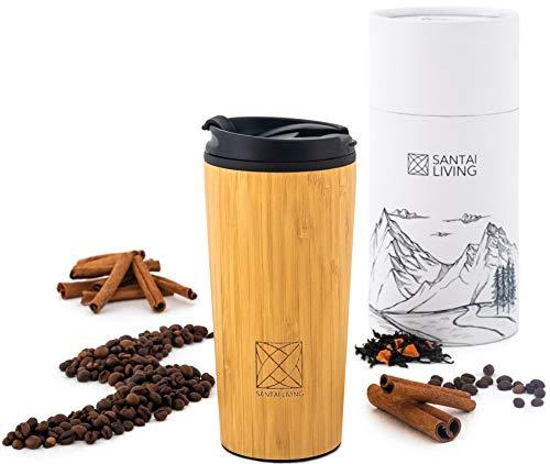 Santai Living Kaffeebecher für unterwegs Coffee to go Bambus Thermobecher 400 ml aus Edelstahl mit Doppelwand Isolierung 100% auslaufsicher Thermo für Kaffee oder Tee