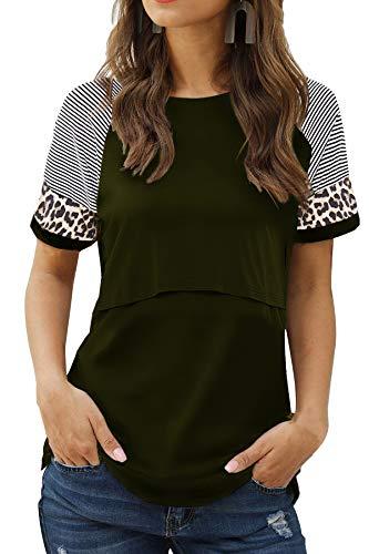Smallshow Camiseta Lactancia Verano Manga Corta Maternidad Ropa Embarazada Top,Army Green,M