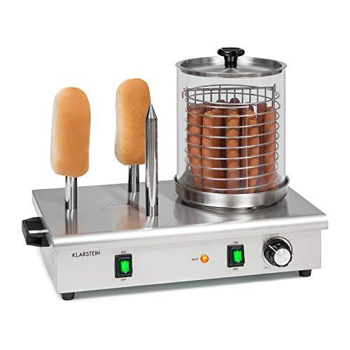 Klarstein Wurstfabrik Pro 600 Hot Dog Maker : 600W, 3 broches chauffantes, contrôle de température 30-100 °C, cylindre en verre: Ø 20 cm, cage en inox: Ø 17 cm, cuiseur de saucisses pro, argent