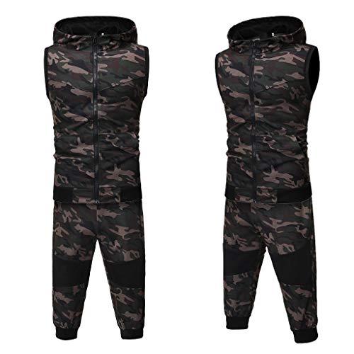 Fantastic Deal! Camo Jogging Sets for Men,Hooded Sweatshirt Zipper Vest+Jogger Sweatpants Sports Sui...