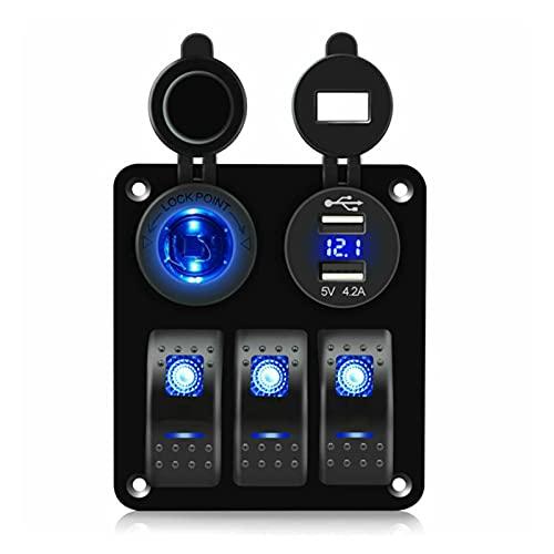JIAQING Impermeable DC 12V-24V Azul LED 3 Gang Rocker Interruptor de Interruptor Interruptor de Circuito USB Voltímetro y Cargador de alimentación Ajuste para RV Coche Marino Barco