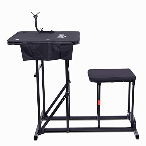 PEXMOR Portable Shooting Table Seat Set, Deluxe Rifle Shooting Bench w/Height Adjustable Gun Rest & Ammo Pockets, for Outdoor Range and Hunting