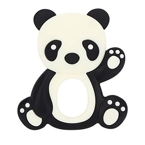 YOUTHINK Juguetes para la Dentición Del Bebé Animal de Dibujos Animados Forma de Panda Mordedor de Silicona Suaves Abrazos y Besos Juguete para Bebé para Bebé Niño (Rosa/Negro/Café)(Negro)