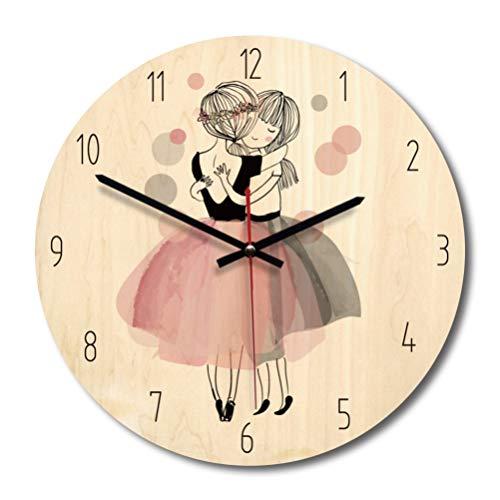 Relógio BesPORTBLE 1 peça estilo nórdico de conto de fadas, estilo decorativo, de madeira, redondo, temporizador para sala de estar, dormitório, quarto