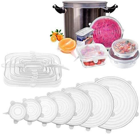 longzon 13 Piezas Tapas Silicona Ajustables,Tapas de Silicona Reutilizables Ecológicas,7 Redondas y 6 Cuadradas de Tapas de Silicona Sin BPA para Lavavajillas, Microondas,Refrigerador, Transparentes