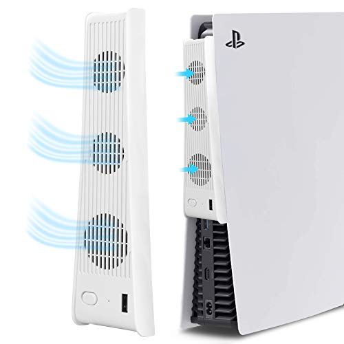 Cooling Fan for Sony Playstation 5,USB External Cooler for PS5 Digital Edition/Ultra HD Console,Accessories for PS5,Mini Cooling System with 3 Cooling Fans (White)