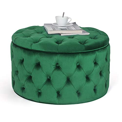 Round Velvet Storage Ottoman Button-Tufted Footrest Stool Coffee Table (Emerald Green)
